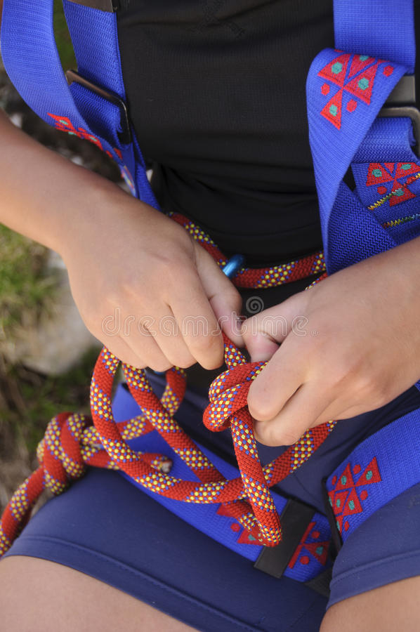 Climbing knot royalty free stock photography
