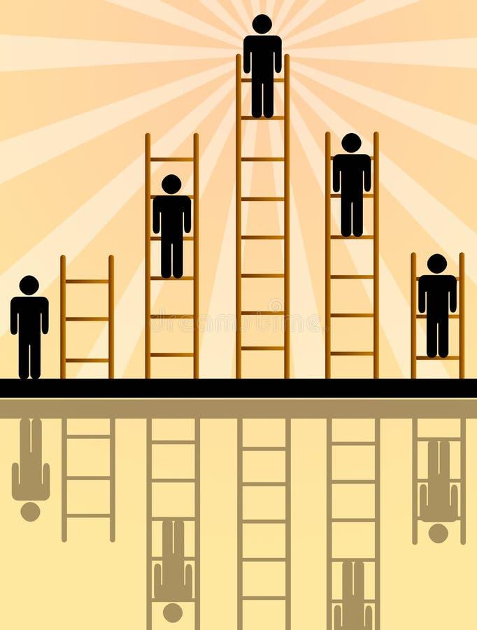 Climbing the ladder vector illustration