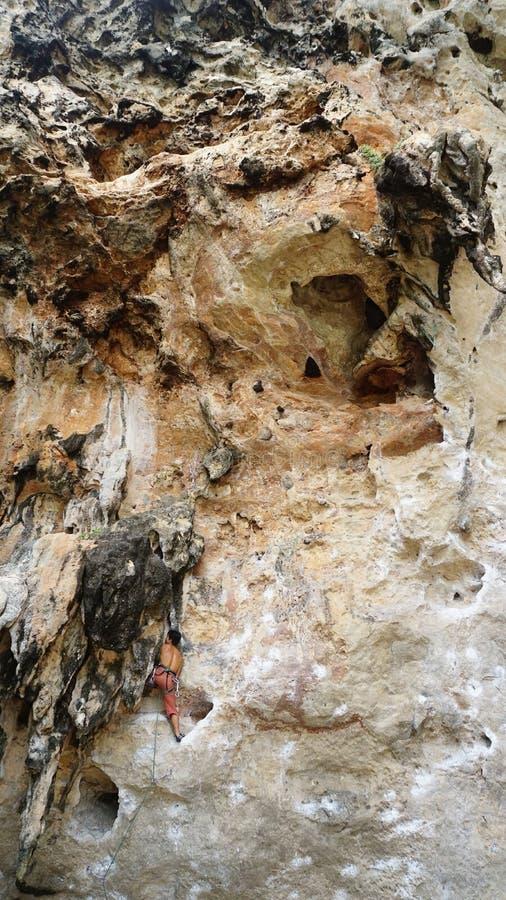 Climbing Limestone Cliff stock photos