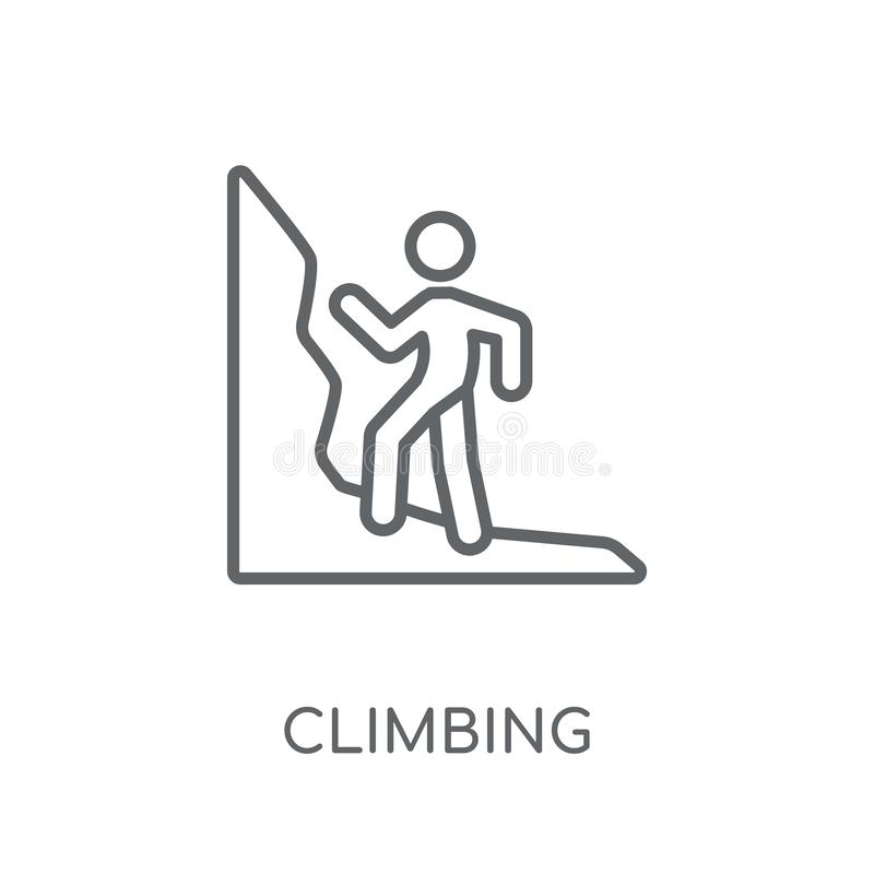 Climbing linear icon. Modern outline Climbing logo concept on wh stock illustration