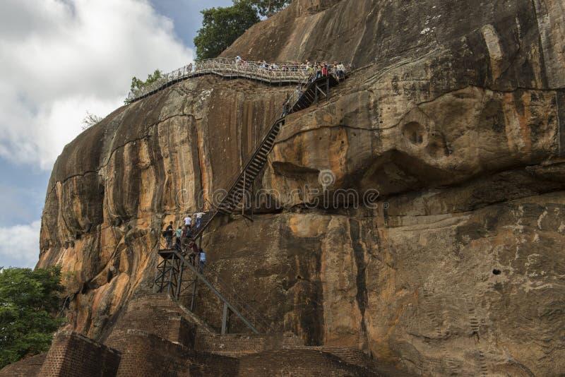 Climbing the Lion`s Rock in Sri Lanka stock photos