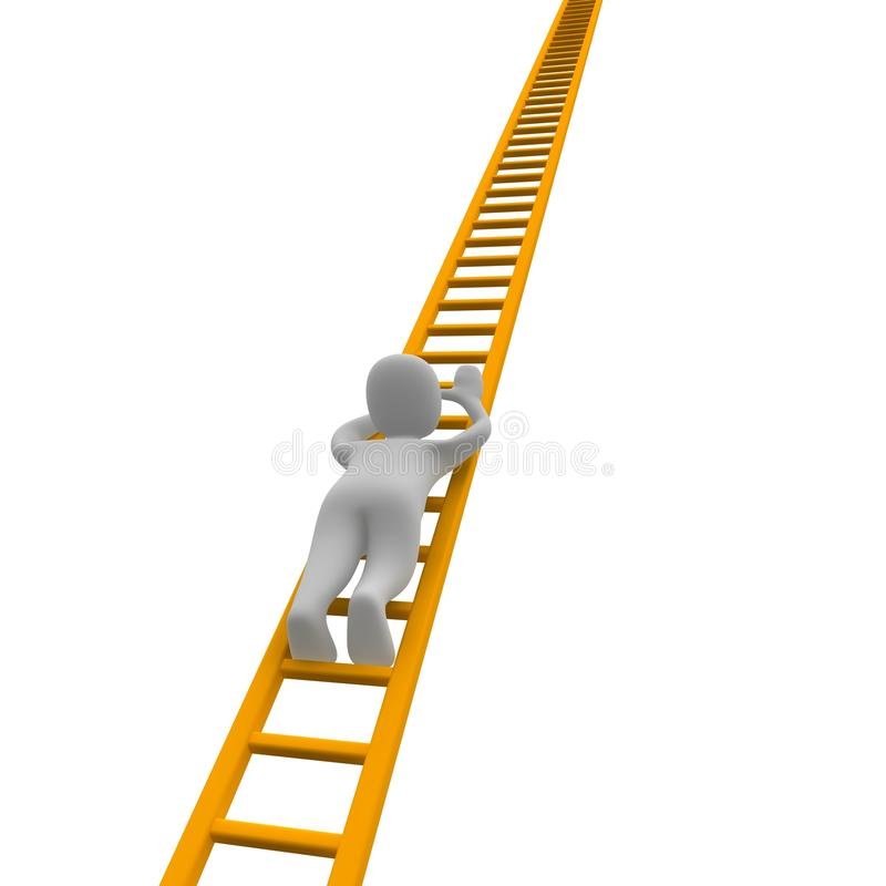 Climbing man and ladder stock illustration