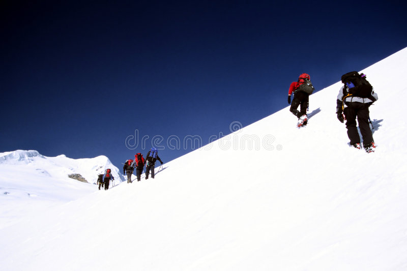 Climbing Mera Peak stock images