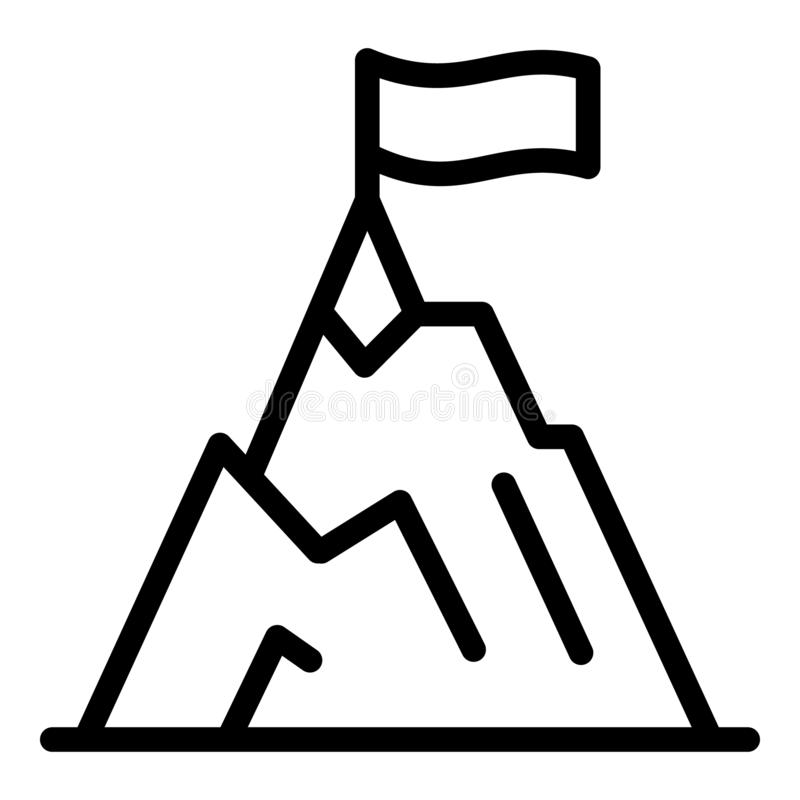Climbing mountain icon, outline style. Climbing mountain icon. Outline climbing mountain vector icon for web design isolated on white background stock illustration