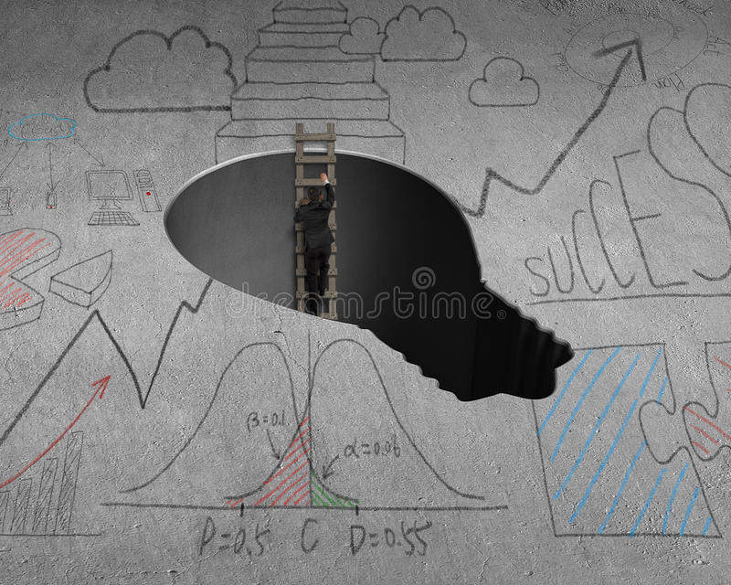 Climbing out from lamp shape hole royalty free illustration