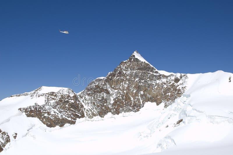 Climbing panorama on glacier royalty free stock photos