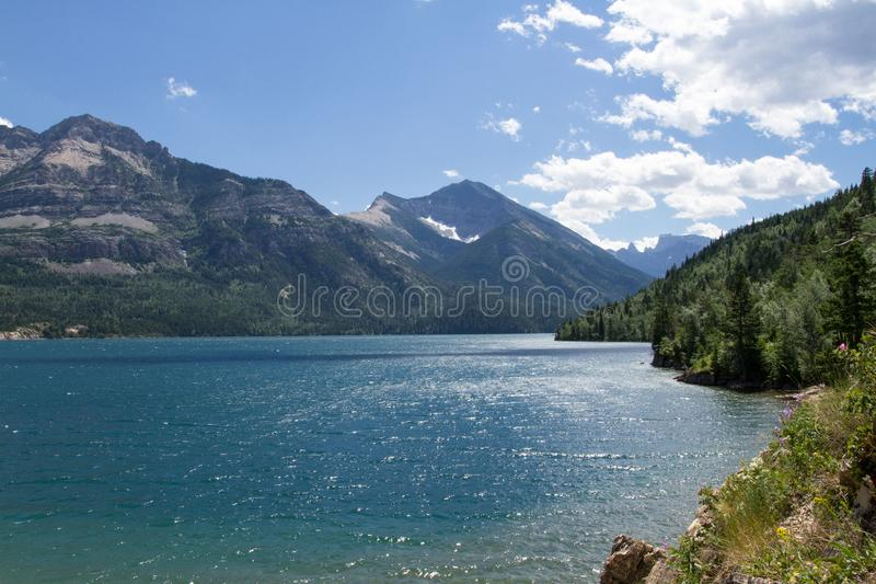 Overlooking Waterton Lake and the mountains stock photography