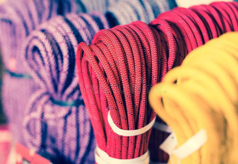 Climbing ropes for climbing stock images