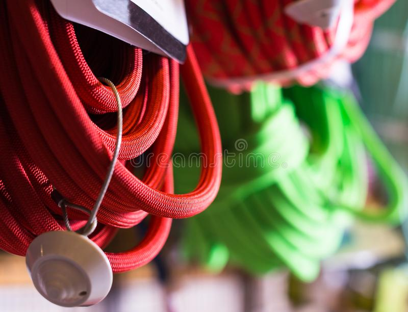 Climbing ropes for climbing stock photography