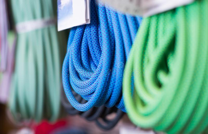 Climbing ropes for climbing stock image