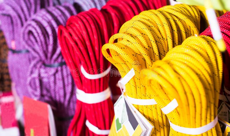 Climbing ropes for climbing royalty free stock photo