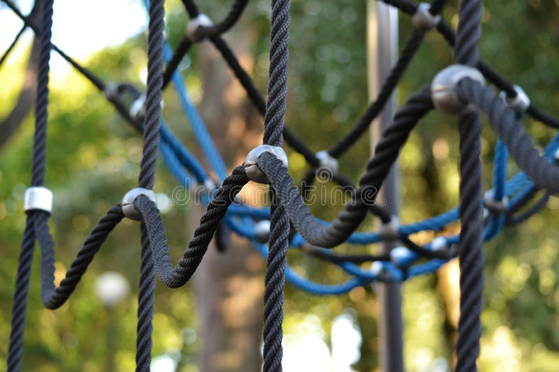 Climbing ropes on a playground royalty free stock photography