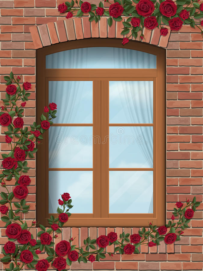 Climbing rose arched window in brick wall stock illustration