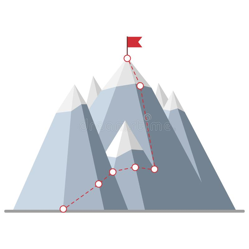 Climbing route to peak. With flag on the mountain. Top of rock. Business journey path in progress. Success concept design vector stock illustration