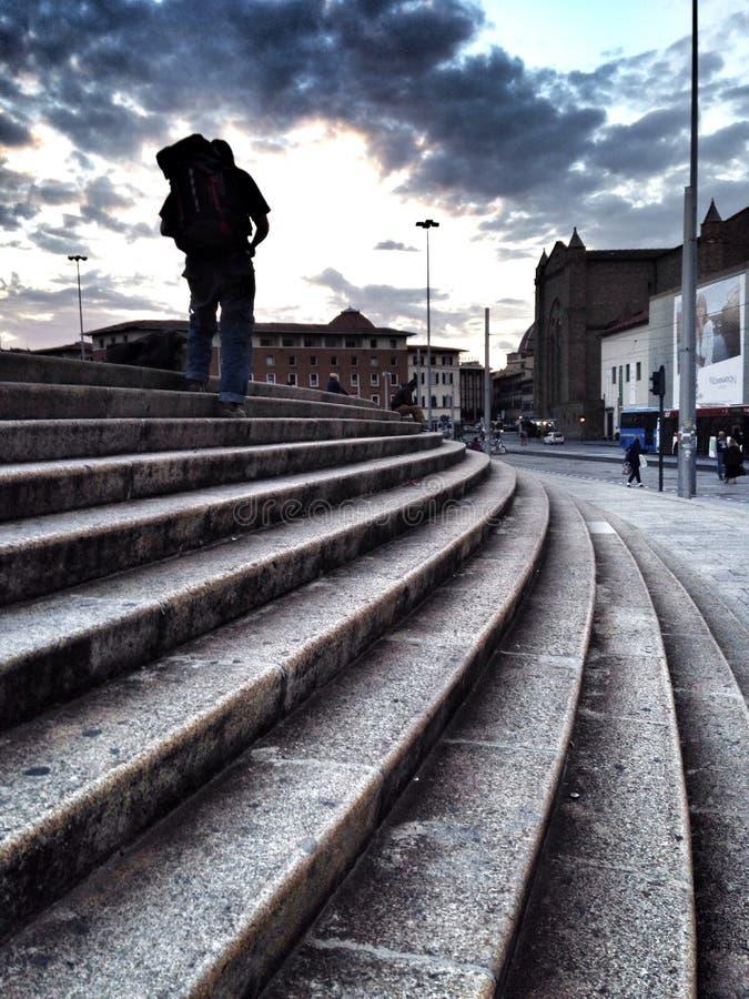 Climbing a staircase royalty free stock photo