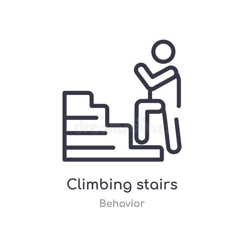 climbing stairs outline icon. isolated line vector illustration from behavior collection. editable thin stroke climbing stairs royalty free illustration