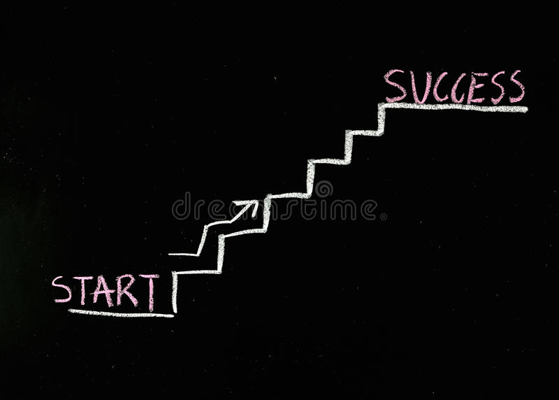 Climbing the stairs to success stock photography