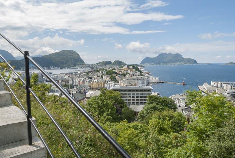 Climbing 418 steps at Aksla viewing Alesund. In Norway stock photos