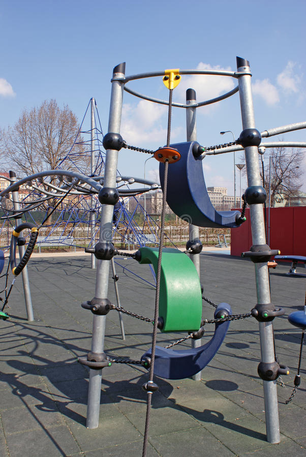 Climbing system in a park stock photos