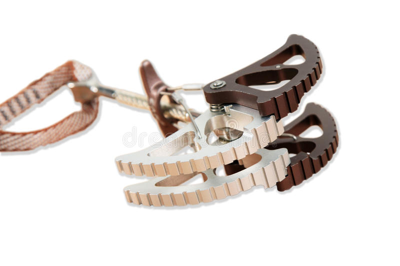 Climbing technological devise close up. Extreme sport belaying gadget stock photography