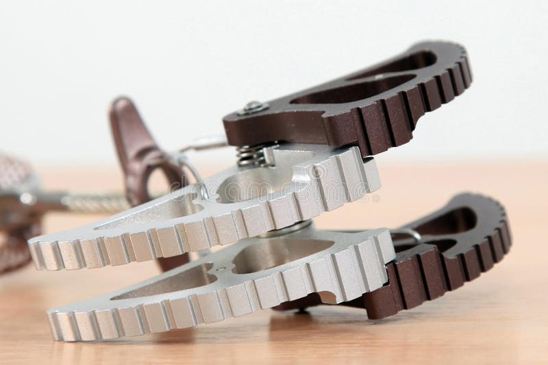 Climbing technological devise close up. Extreme sport belaying gadget royalty free stock images