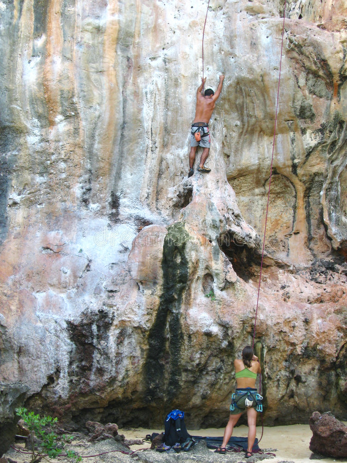 Climbing in thailand stock image