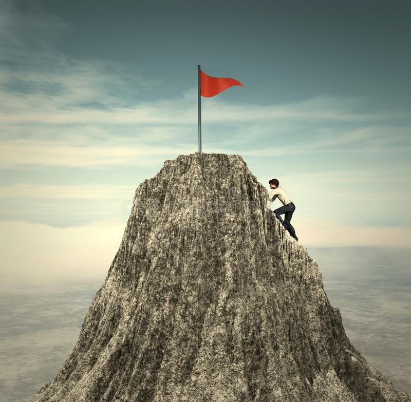 Climbing to the flag vector illustration