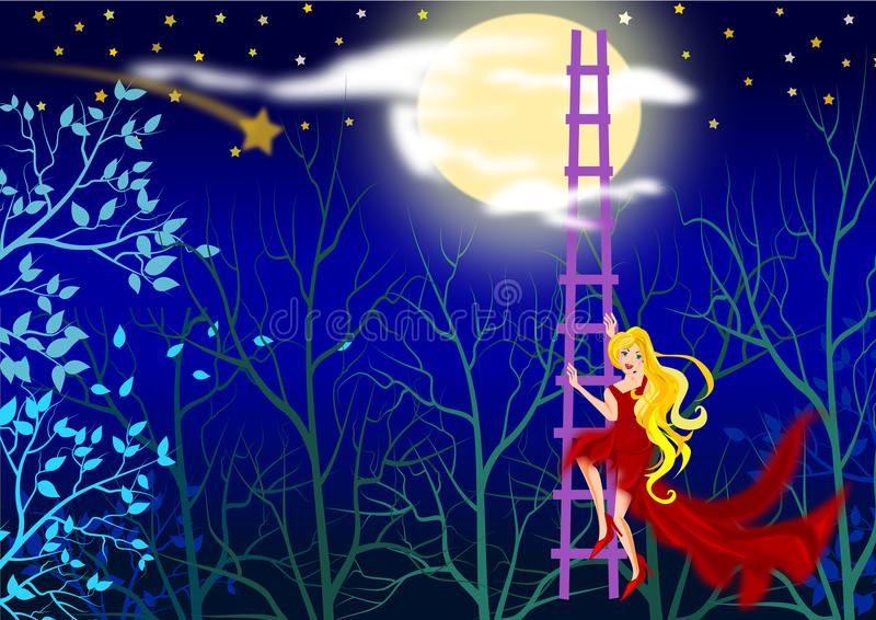 Climbing to the moon stock illustration