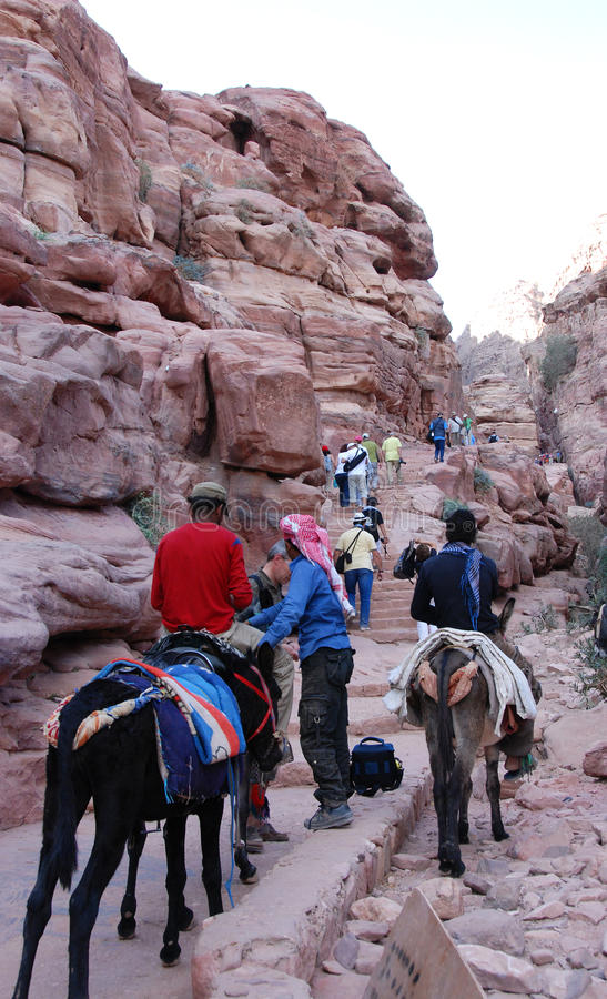Climbing to Petra mountain. stock image