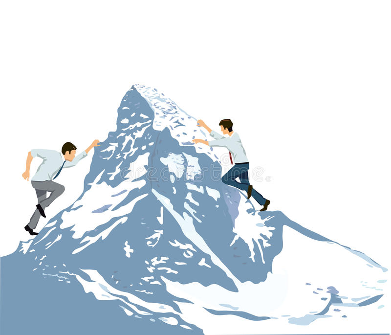Climbing to summit of mountain. Illustration of two business men climbing the slippery slope of a freezing snowy mountain, concept of difficulty of achievement vector illustration