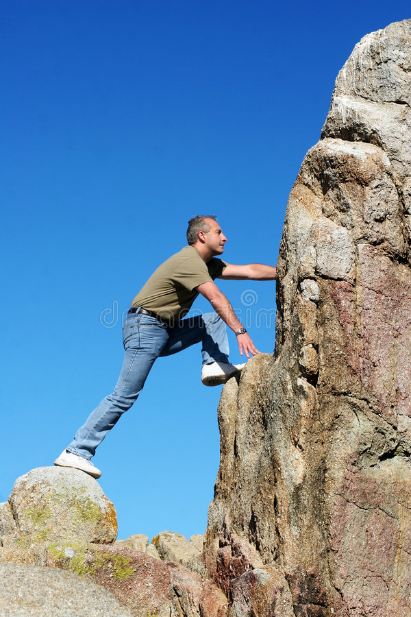 Download Climbing to the top stock image. Image of mountain, achievement - 391721