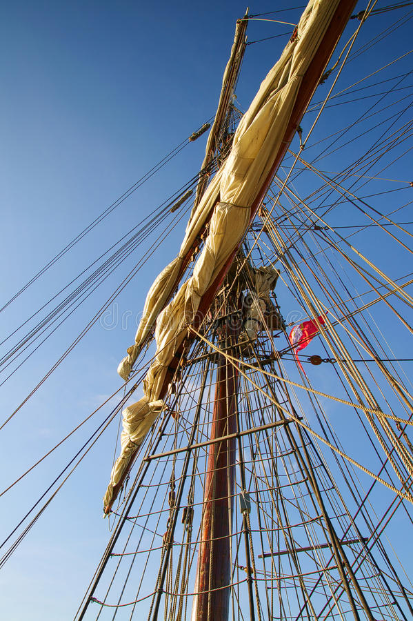 Climbing to the Top in Mast old Sailing Ship royalty free stock images