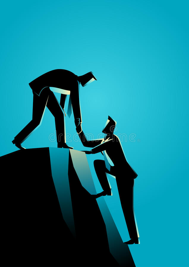Climbing to the top of the rock vector illustration