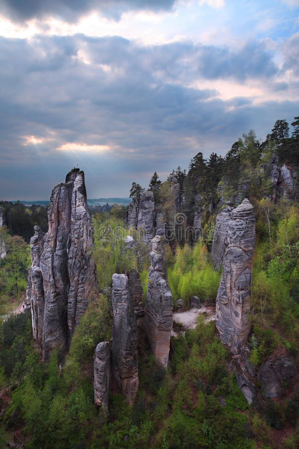 Spring in Prachov rocks. Climbing and tourist area in Prachov rocks in Bohemiam paradise neat Jicin town stock photos