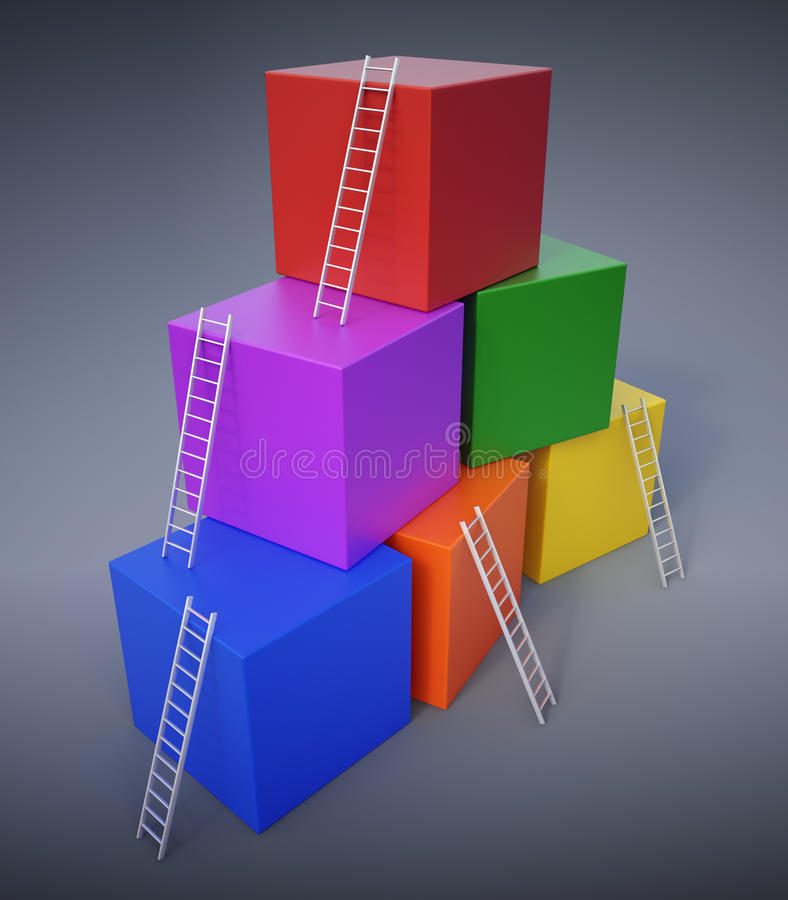 Download Climbing up the ladders stock illustration. Image of goal - 10259068