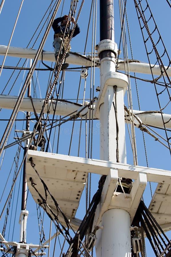 Climbing up a mast. stock photos