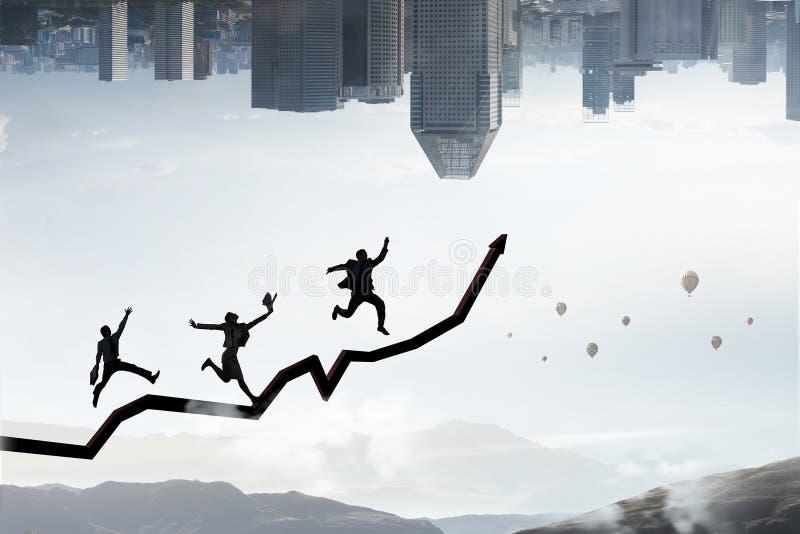Climbing up to success. Mixed media stock image