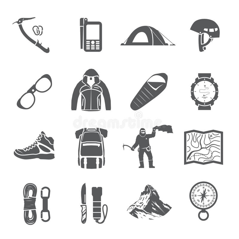 Climbing vector black and white icons. Set of black vector icons on the theme of Climbing, Trekking, Hiking, Mountaineering. Extreme sports, outdoor recreation stock illustration