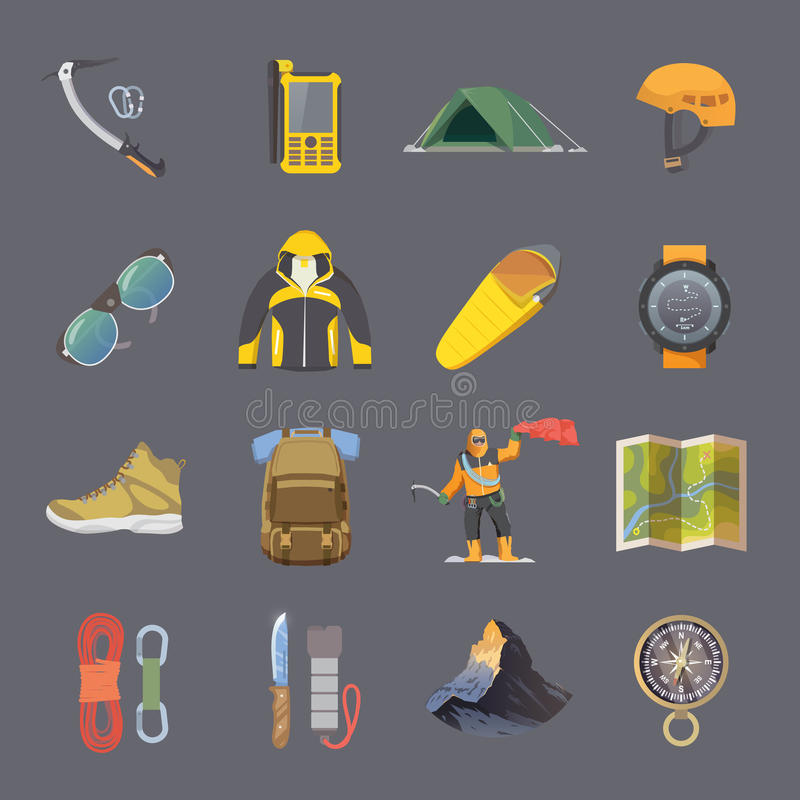 Climbing vector flat icons. Set of flat vector icons on the theme of Climbing, Trekking, Hiking, Mountaineering. Extreme sports, outdoor recreation, adventure in stock illustration