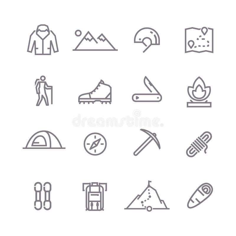 Climbing vector line icons. Set of line vector icons on the theme of Climbing, Trekking, Hiking, Mountaineering. Camping. Adventure.Extreme sports, outdoor stock illustration