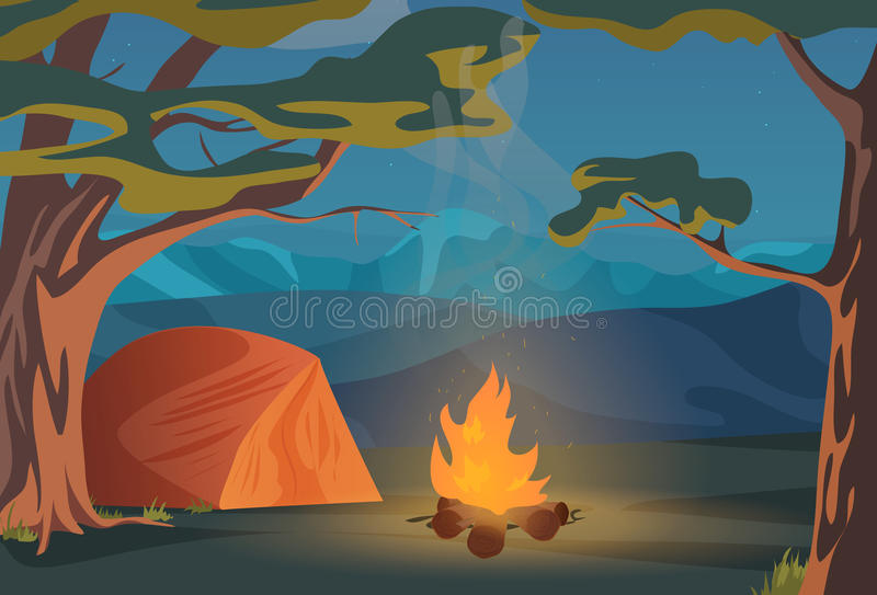 Climbing, Walking, Hiking or Sports outdoor camping recreation landscape, nature adventures vacation illustration. Wood vector illustration