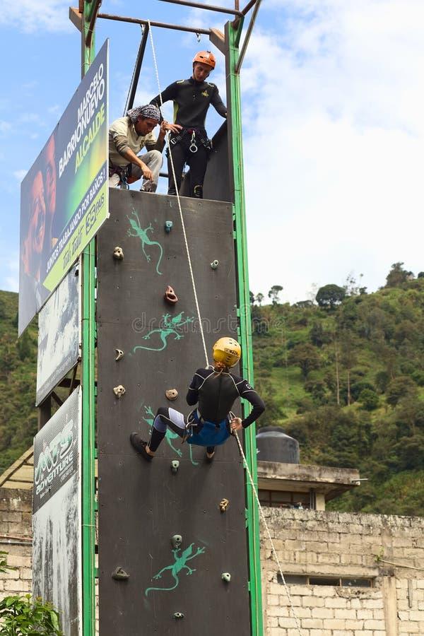 Climbing Wall in Banos, Ecuador stock photos