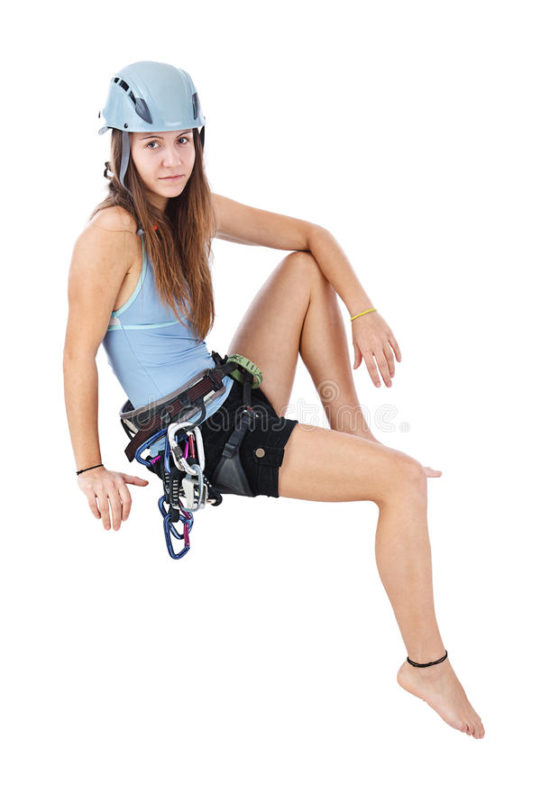 Climbing woman sitting a banner royalty free stock image