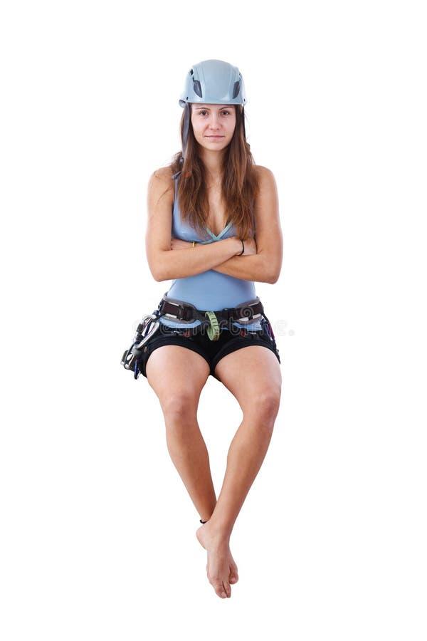 Climbing woman sitting a banner royalty free stock photos