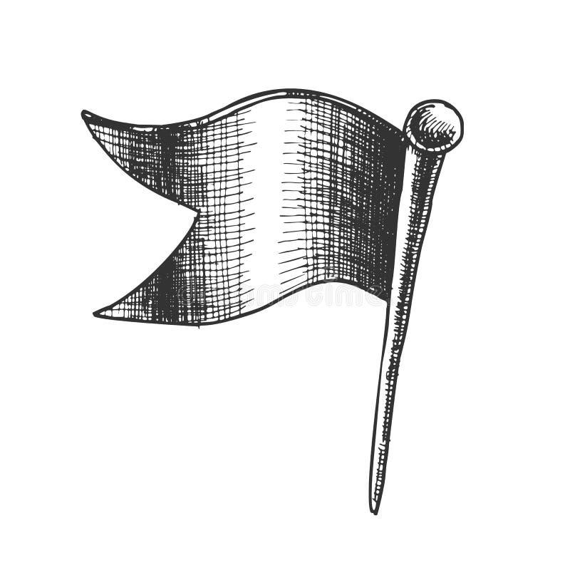 Clinch Pushpin χαρτικών στο διάνυσμα μορφής σημαιών κυμάτων ελεύθερη απεικόνιση δικαιώματος