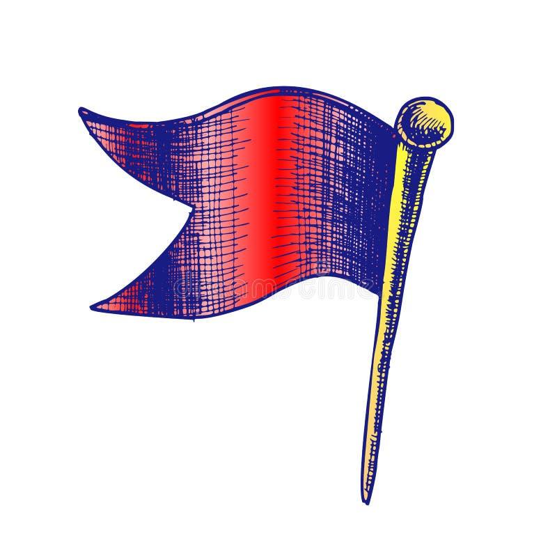 Clinch Pushpin χαρτικών χρώματος στο διάνυσμα μορφής σημαιών κυμάτων διανυσματική απεικόνιση