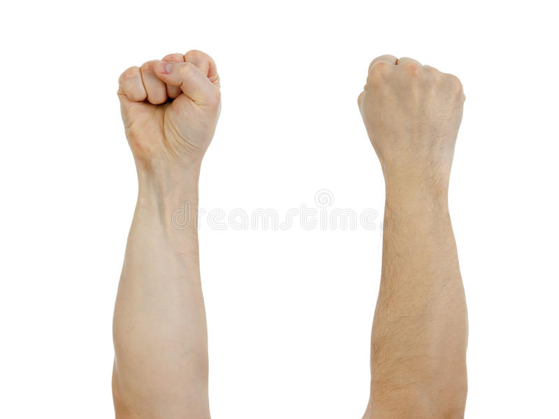 Clinched fist raised up isolated. On white stock photography