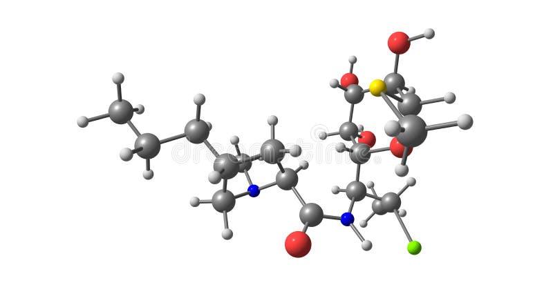 Clindamycin cząsteczkowa struktura odizolowywająca na bielu ilustracja wektor