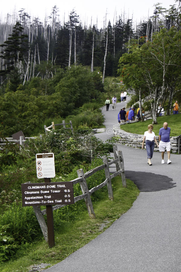 Clingmans Dome Trail Smoky Mountain National Park. A view of the paved hiking trail that leads to the observation tower on the top of Clingmans Dome, one of the royalty free stock images
