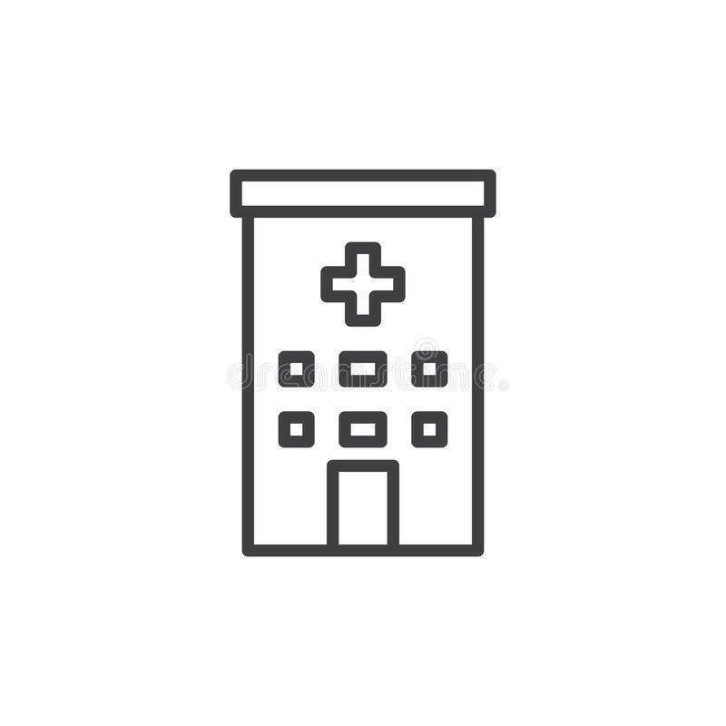 Clinic building line icon. Outline vector sign, linear style pictogram isolated on white. Hospital symbol, logo illustration. Editable stroke vector illustration
